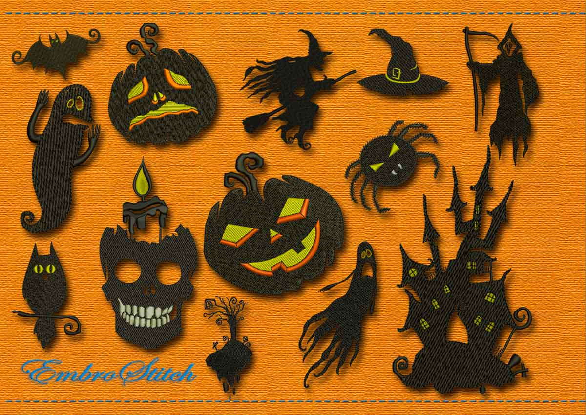 This Halloween Holiday Set design was digitized and embroidered by Embrostitch studio