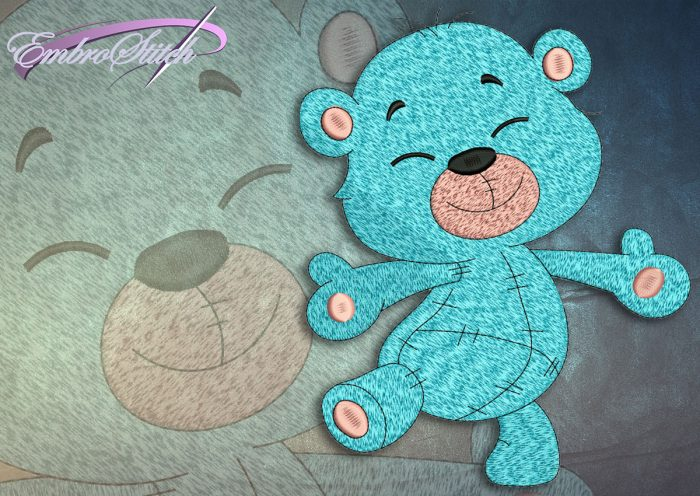 This Happy Bear Cub design was digitized and embroidered by Embrostitch studio