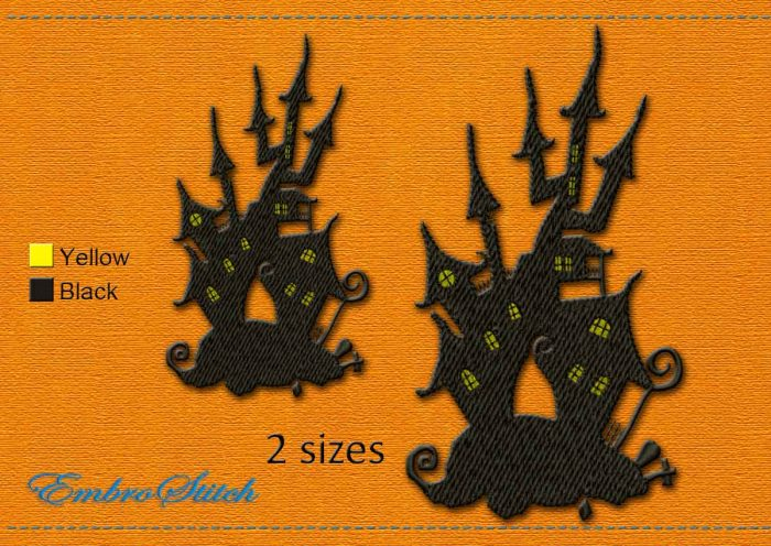 This Haunted House Halloween design was digitized and embroidered by Embrostitch studio