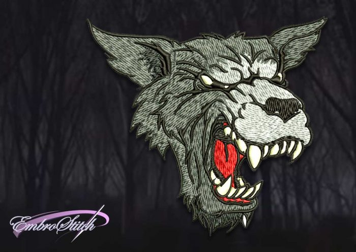 The embroidery design Head of coloured wolf contains in 8 embroidery formats.