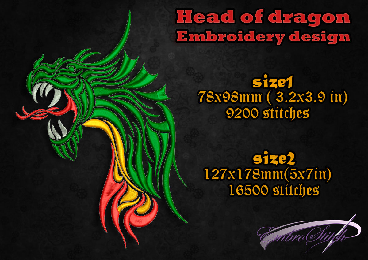 This is embroidery design Head of Dragon