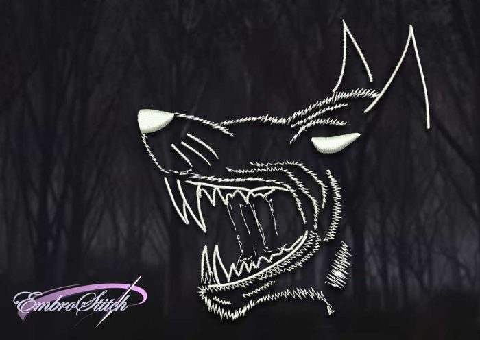 The embroidery design Head of toothy wolf is instantly downloadable file.
