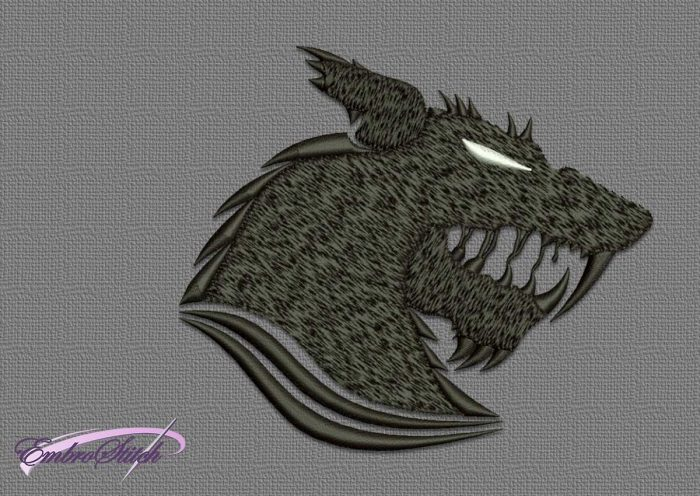 The qualitative embroidery design Head of werewolf will look great on different types of apparel.
