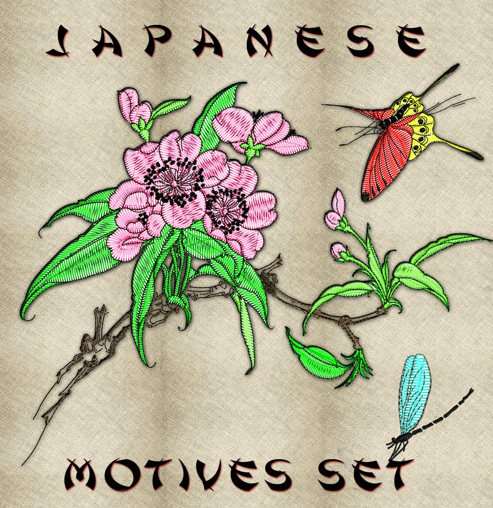 Japanese motives set embroidery design
