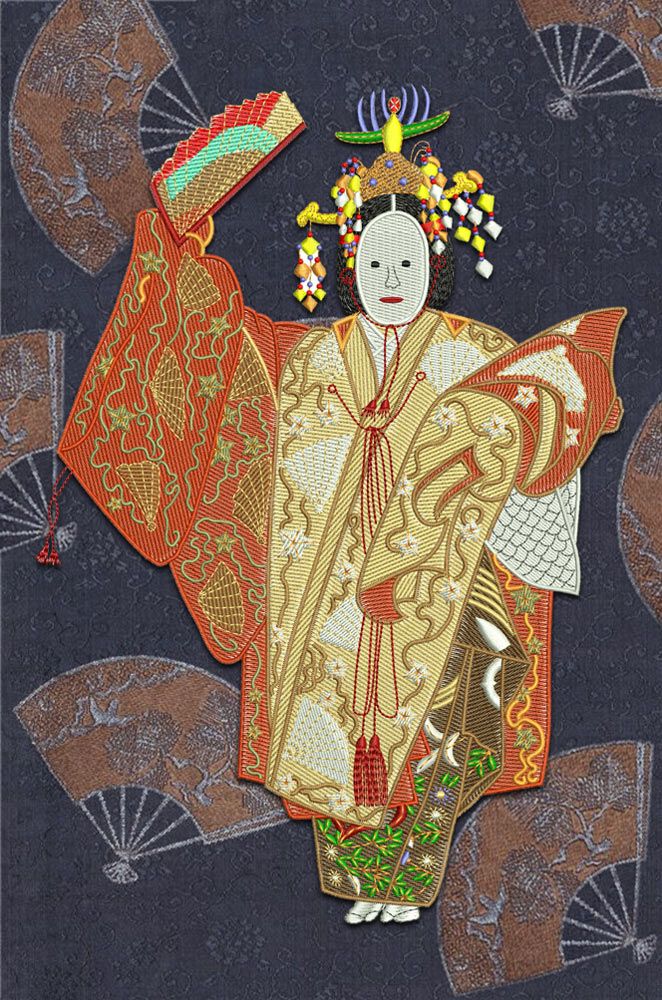 Japanese woman embroidery design