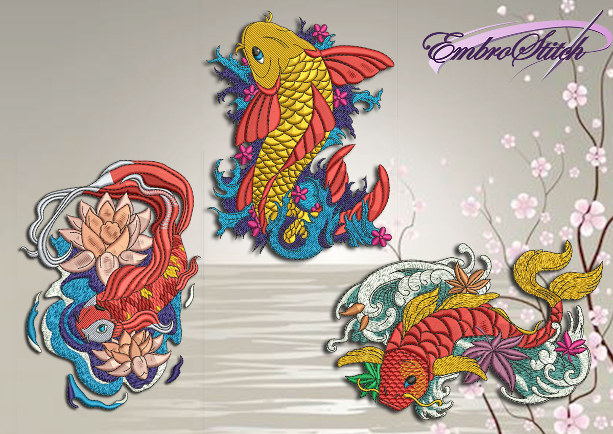 The pack of qualitative embroidery designs Carp on the waves