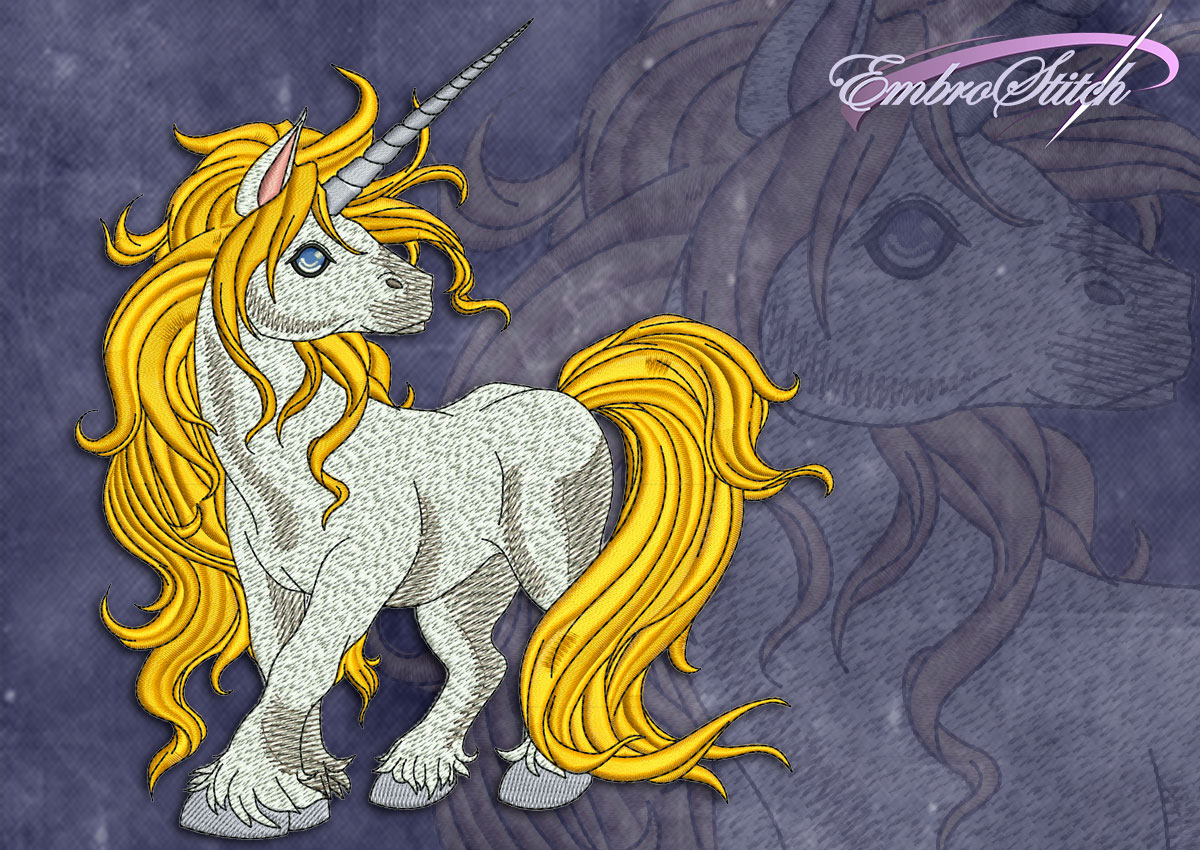 This Juvenile Unicorn design was digitized and embroidered by Embrostitch studio