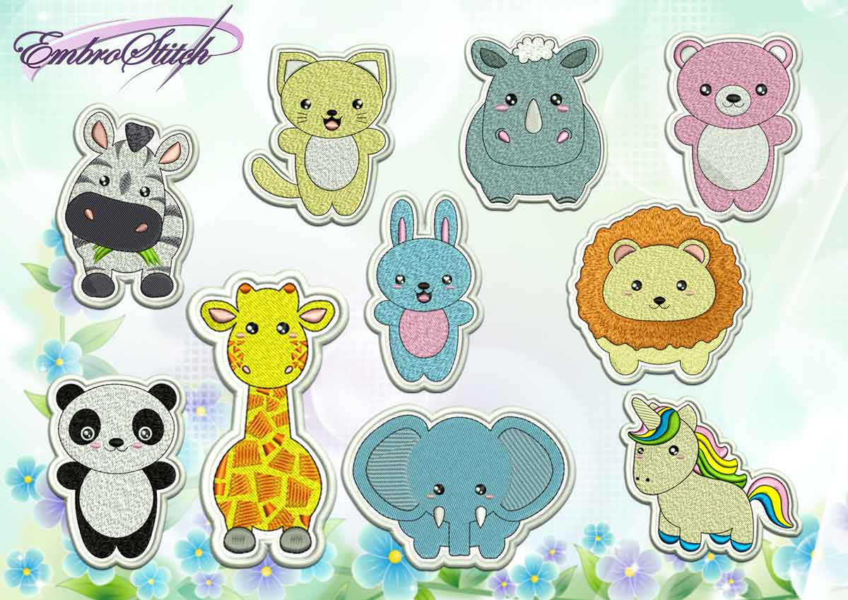 The pack of cute embroidery design Kawaii animals