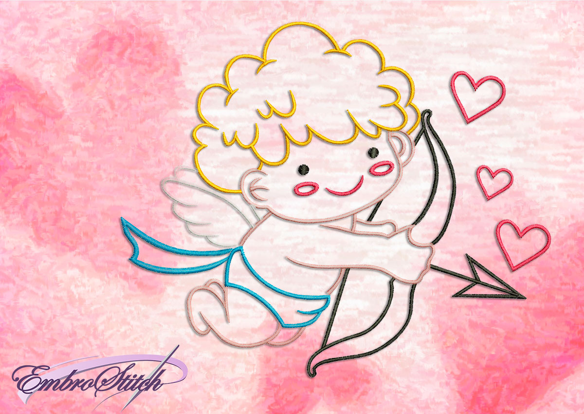 This Kind Cupid design was digitized and embroidered by Embrostitch studio