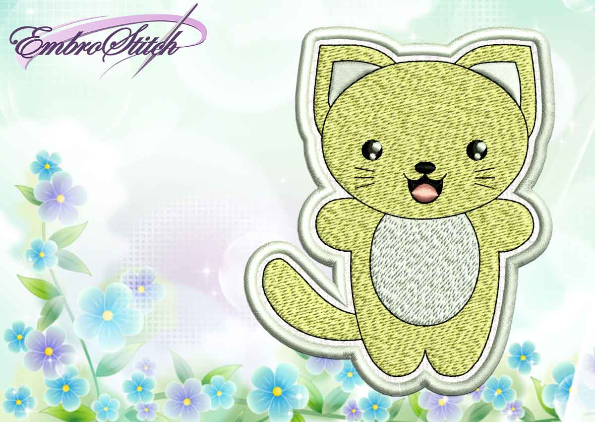 The cute embroidery design Kawaii kitty