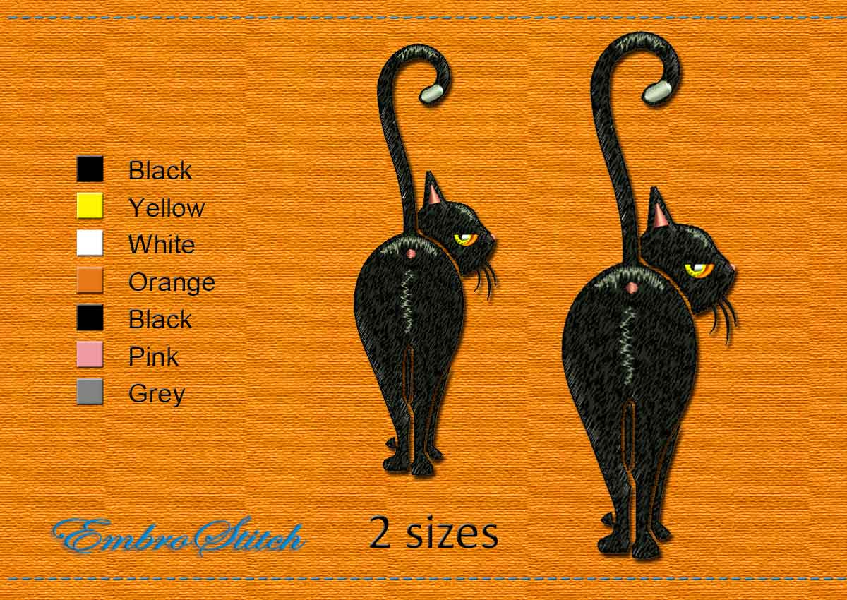 This Kitty Halloween design was digitized and embroidered by Embrostitch studio