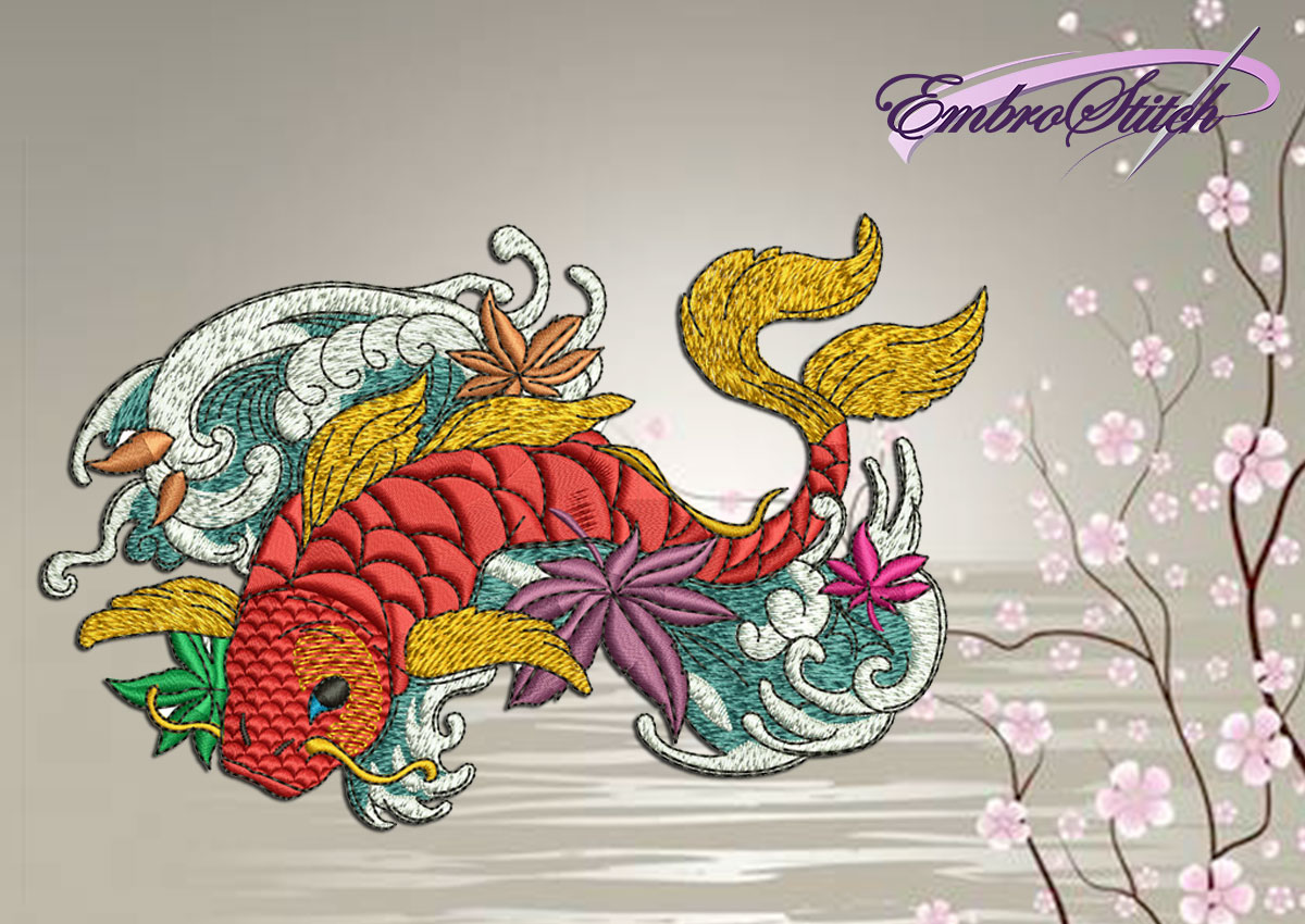 The qualitative embroidery design Koi Carp in the sea