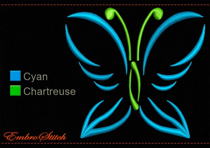 This Lime Blue Butterfly Outline design was digitized and embroidered by Embrostitch studio