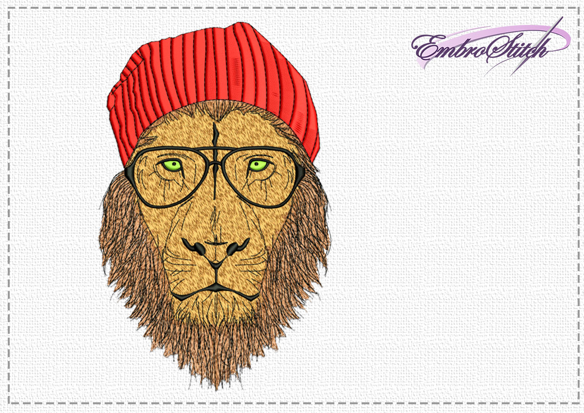 The high quality embroidery design Lion hipster