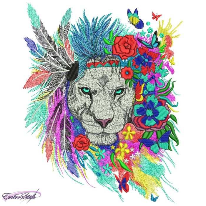 Lion with Flowers and Feathers