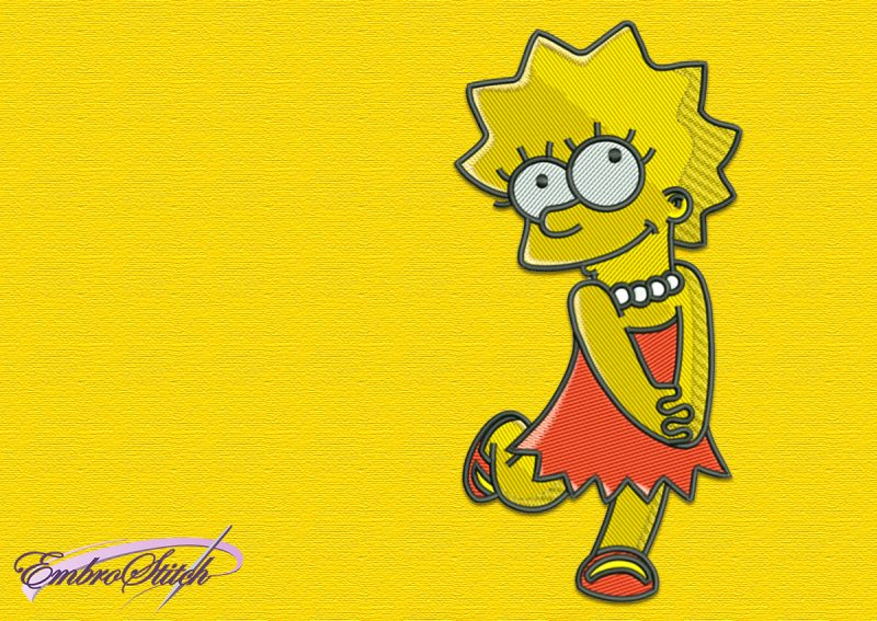 The embroidery design Lisa Simpson is simple and easy to work with.