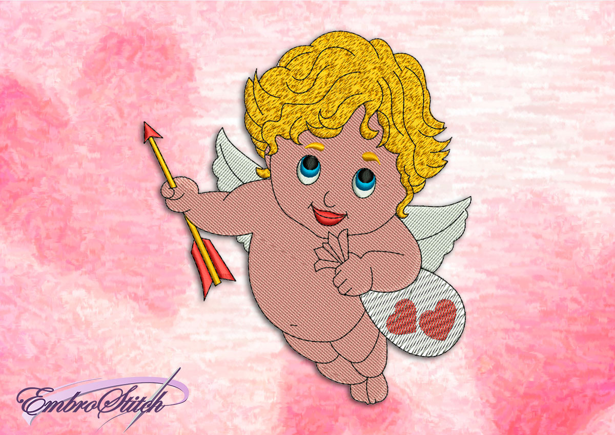 This Little Cupid design was digitized and embroidered by Embrostitch studio