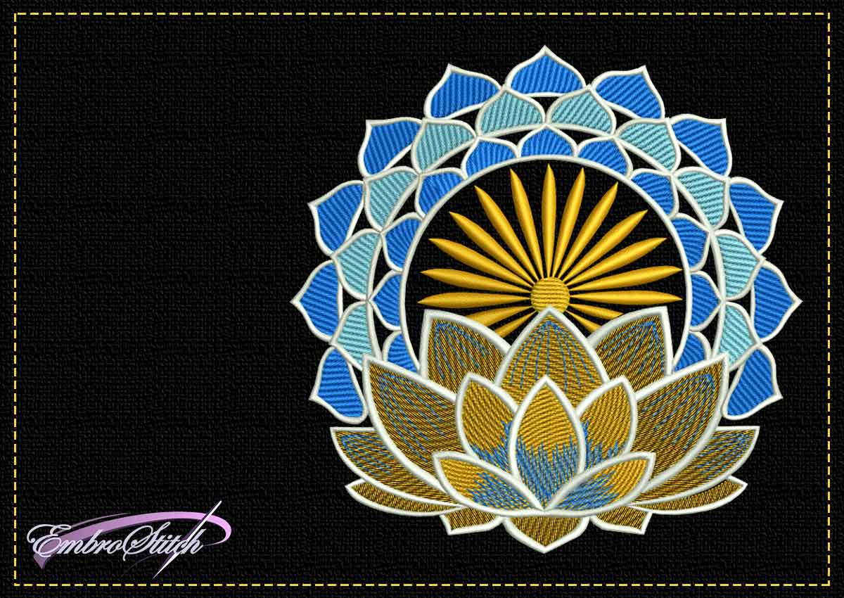 The tender embroidery design Lotus blossom