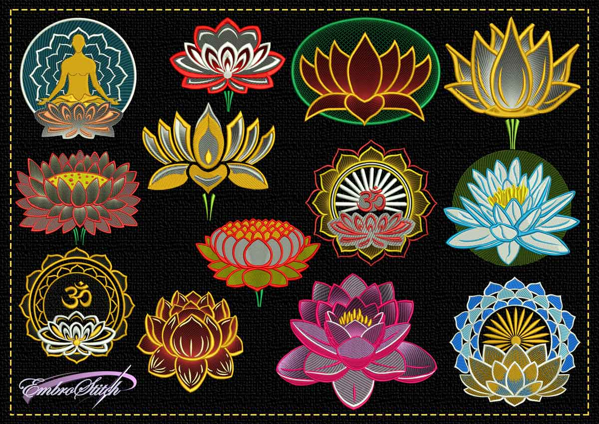 The pack of tender embroidery design Lotus flowers