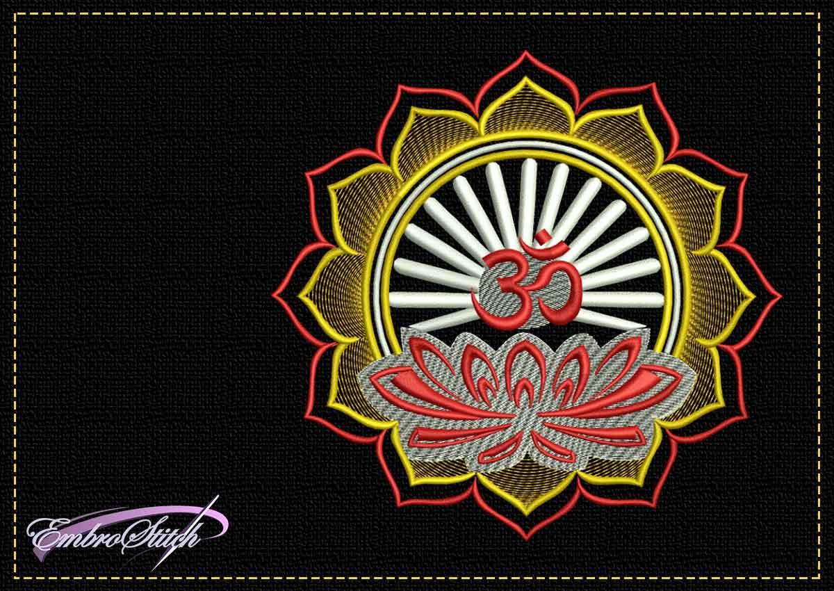 The tender embroidery design Lotus with OM symbol