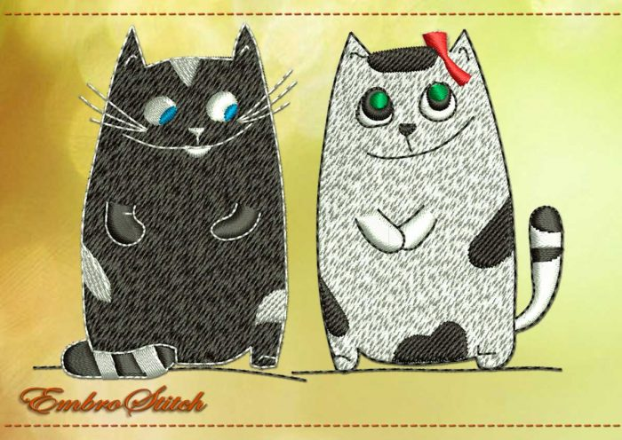 This Lovers Cats design was digitized and embroidered by Embrostitch studio