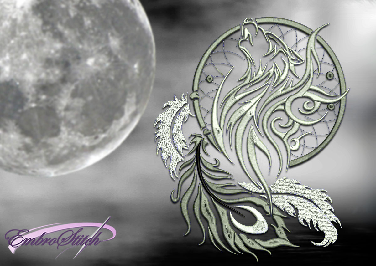 The embroidery design Lunar wolf