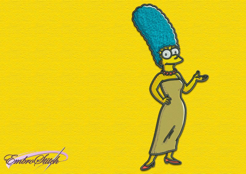 The embroidery design Marge Simpson, that is very kind and truly loves her family.