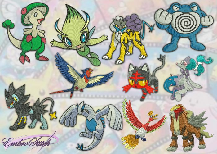 The pack of embroidery designs Marvelous pokemons provides as digital zip-file