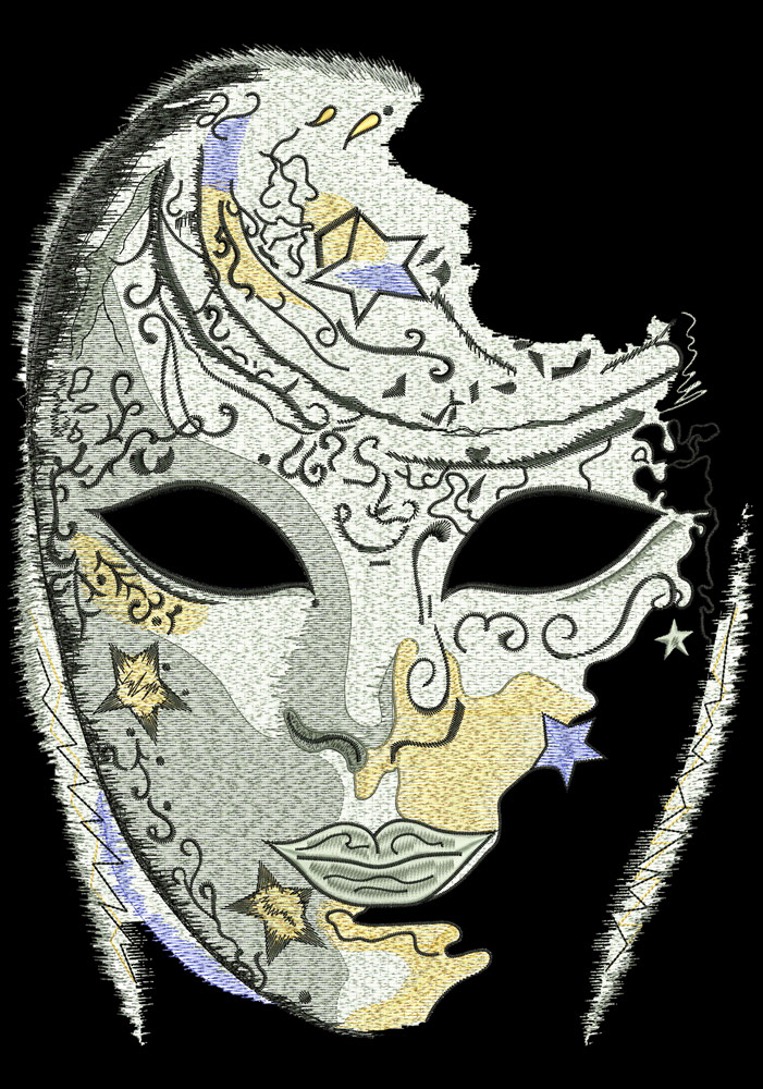 venetian mask embroidery design 7 sizes 8 formats embrostitch