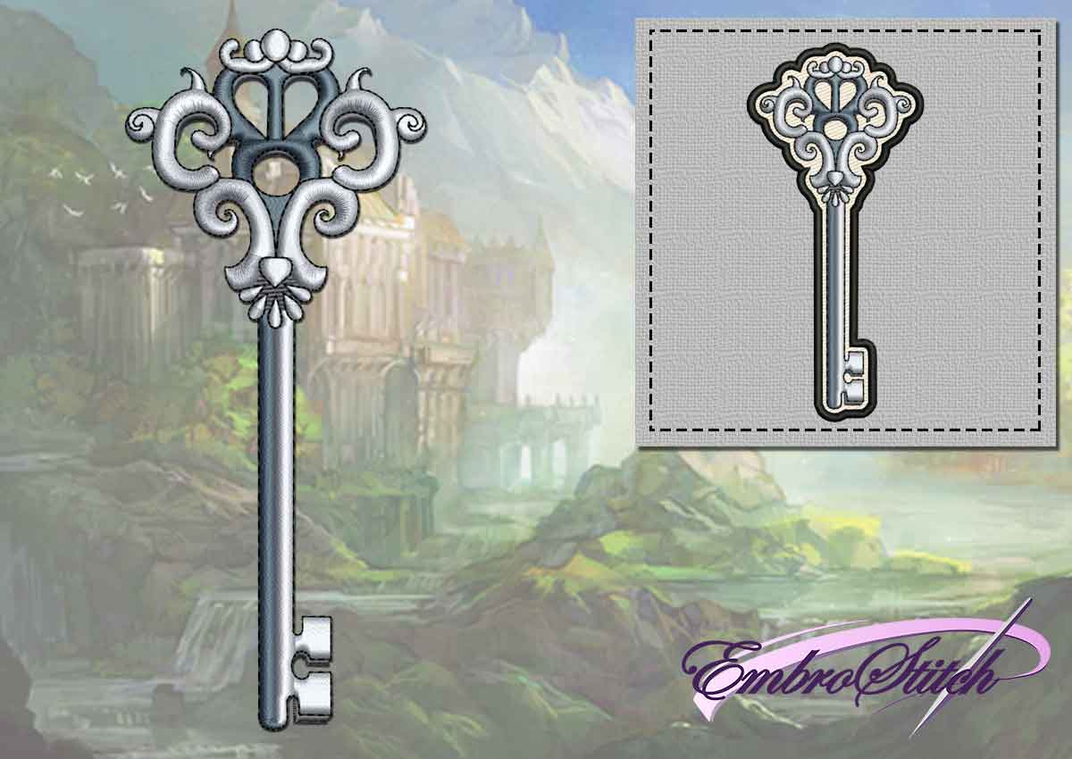 The embroidery design Medieval key