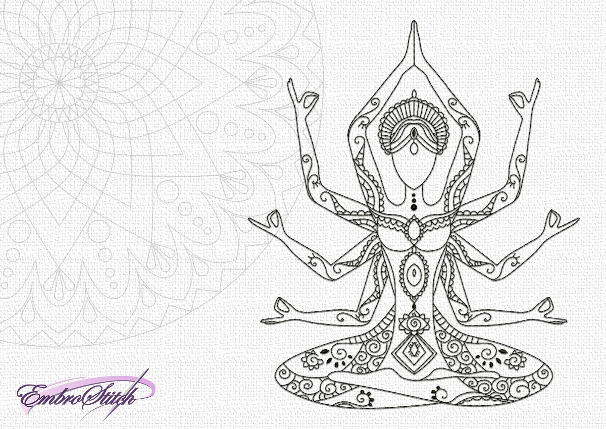 The creative embroidery design Meditating eight-armed goddess is well known hinduist symbol.