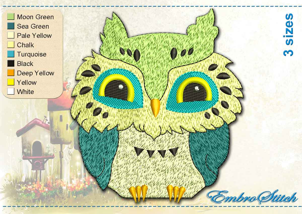 This Merry Owl design was digitized and embroidered by Embrostitch studio