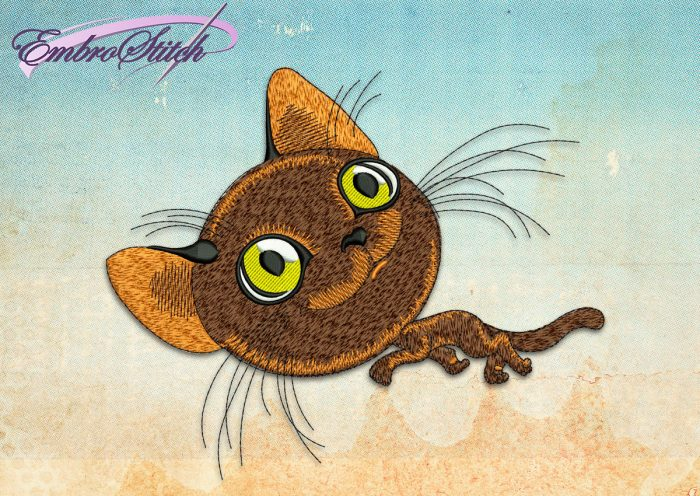 This Mischievous Kitten design was digitized and embroidered by Embrostitch studio
