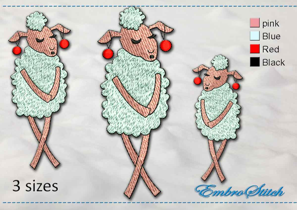 This Modest Sheep design was digitized and embroidered by Embrostitch studio