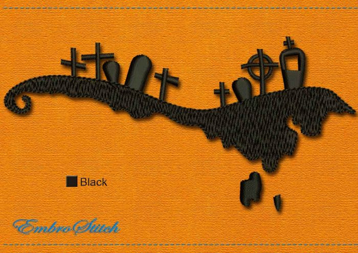 This Mound Halloween design was digitized and embroidered by Embrostitch studio