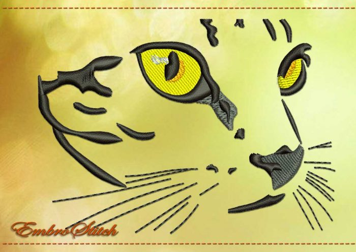 This Muzzle Cat design was digitized and embroidered by Embrostitch studio
