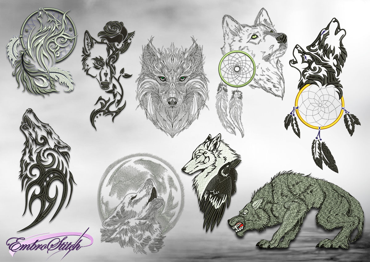 The pack of embroidery design Mysterious wolves