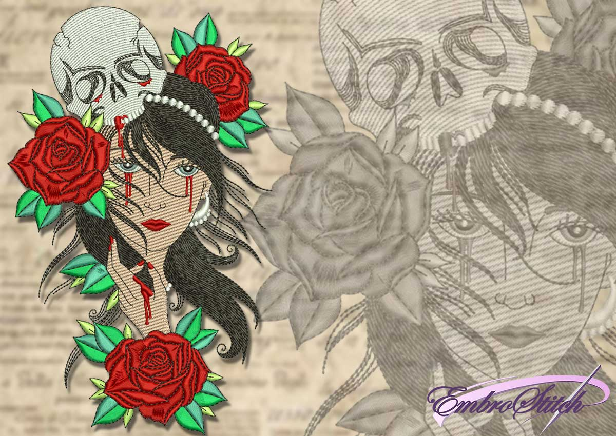 This Mystical Gypsy Roses Skull design was digitized and embroidered by Embrostitch studio