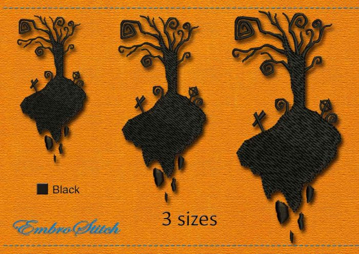This Old Cemetery Halloween design was digitized and embroidered by Embrostitch studio