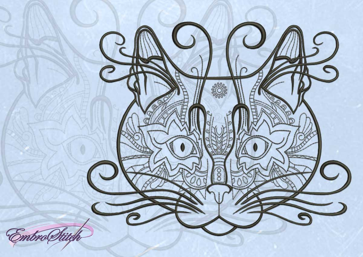 The embroidery design Openwork cats portrait