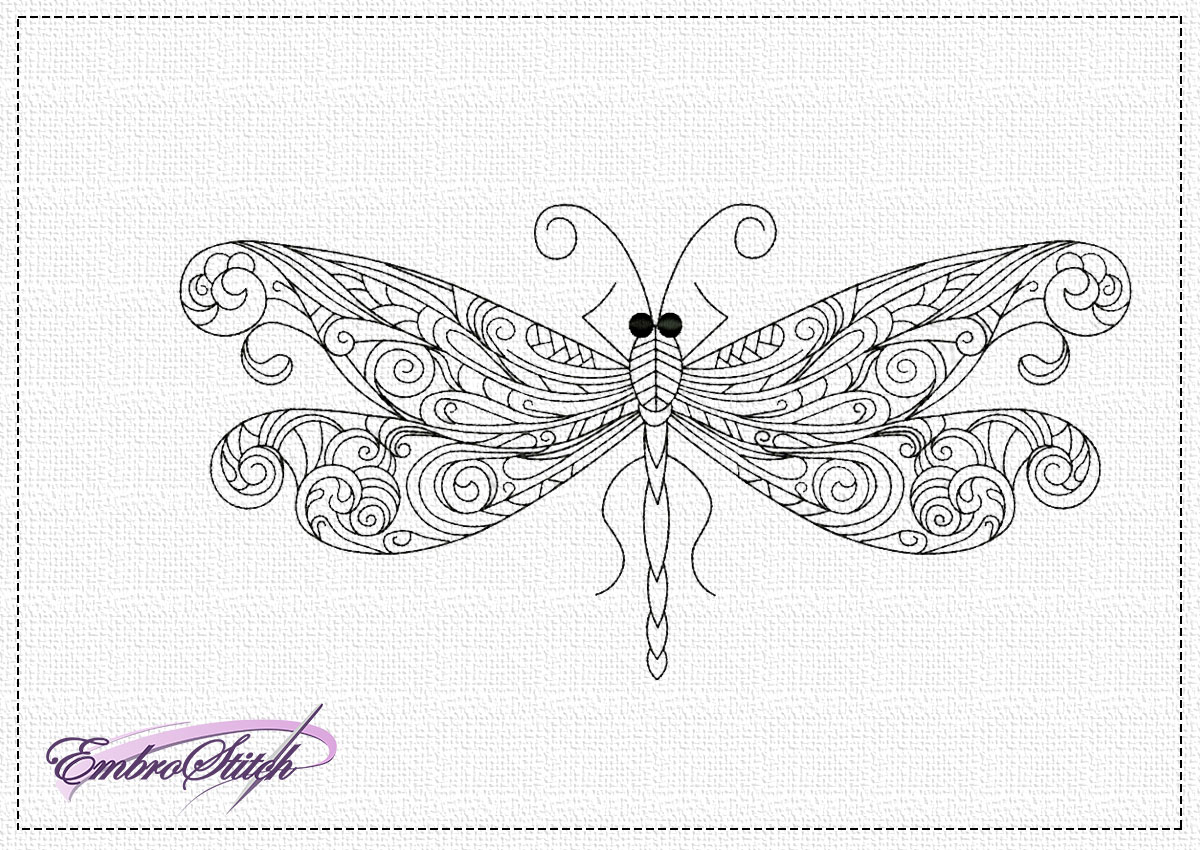 The embroidery design Openwork dragonfly