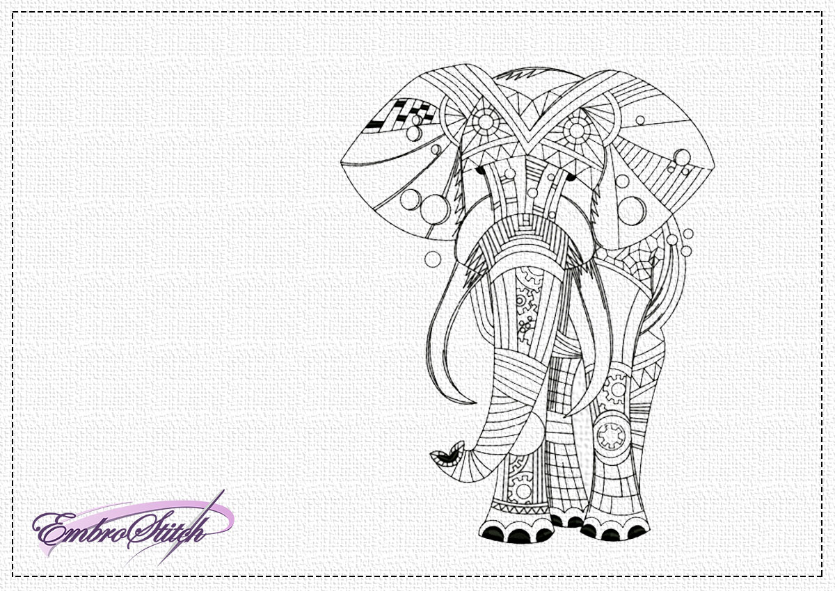The high quality embroidery design Openwork elephant