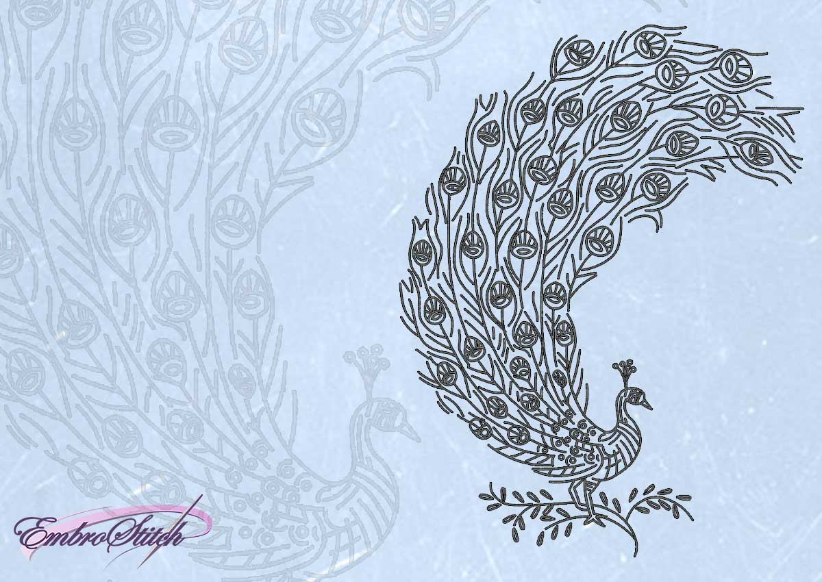 The embroidery design Openwork peacock
