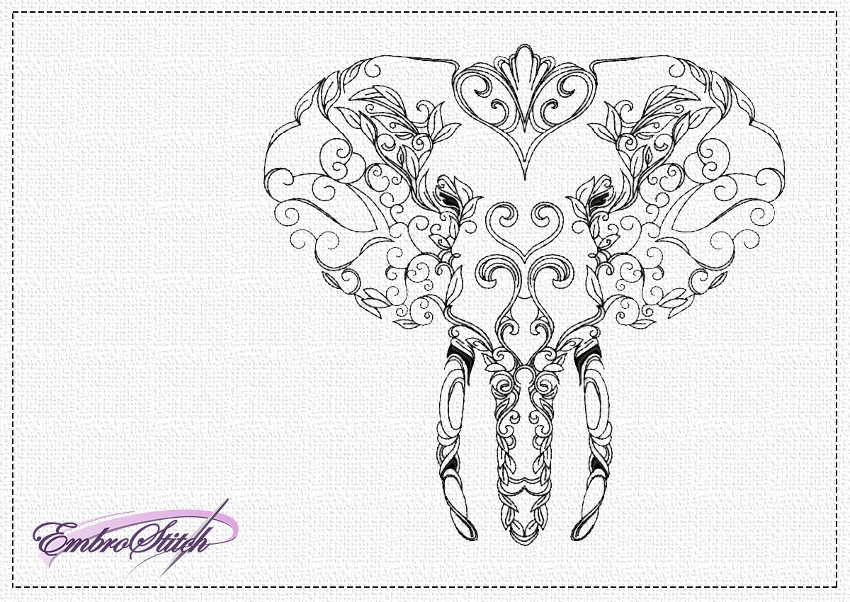 The embroidery design Openwork portrait of elephant