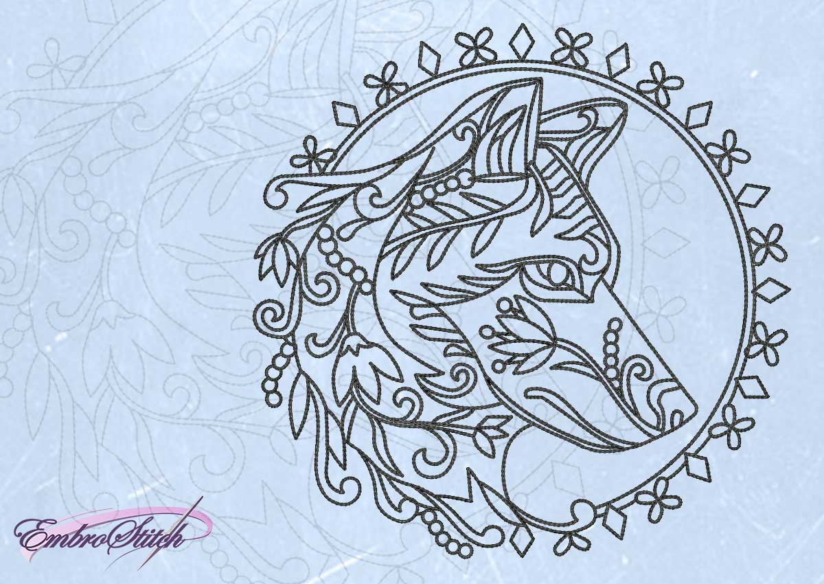 The embroidery design Openwork wolf