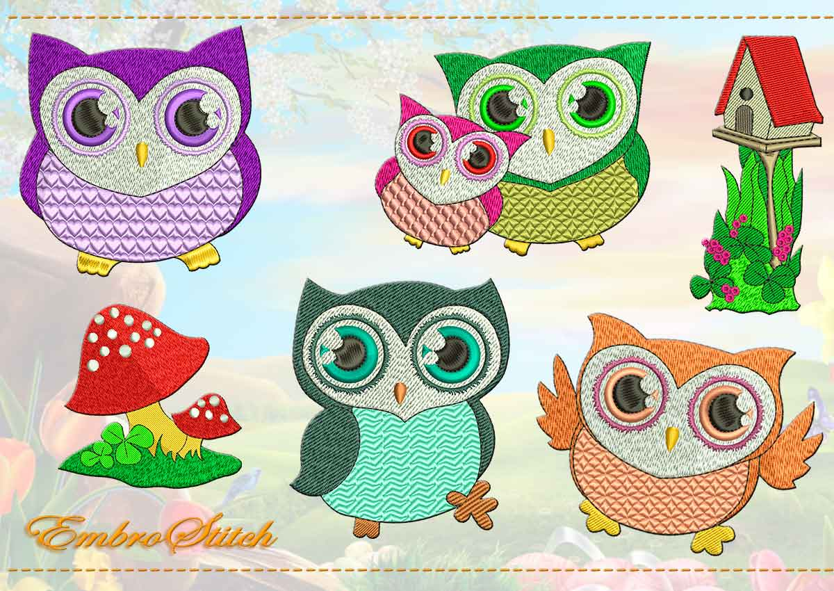This Ordinary Owls Set design was digitized and embroidered by Embrostitch studio