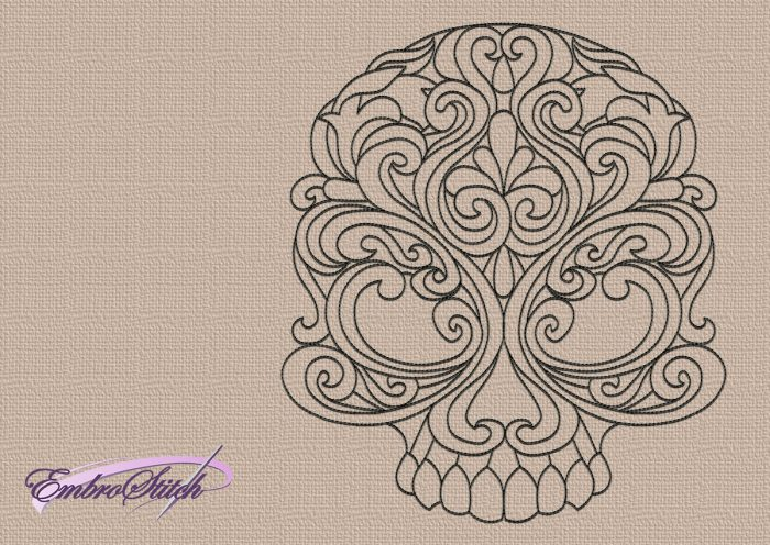 The embroidery design Ornamented skull is easy to embroider thanks to it being monochrome.
