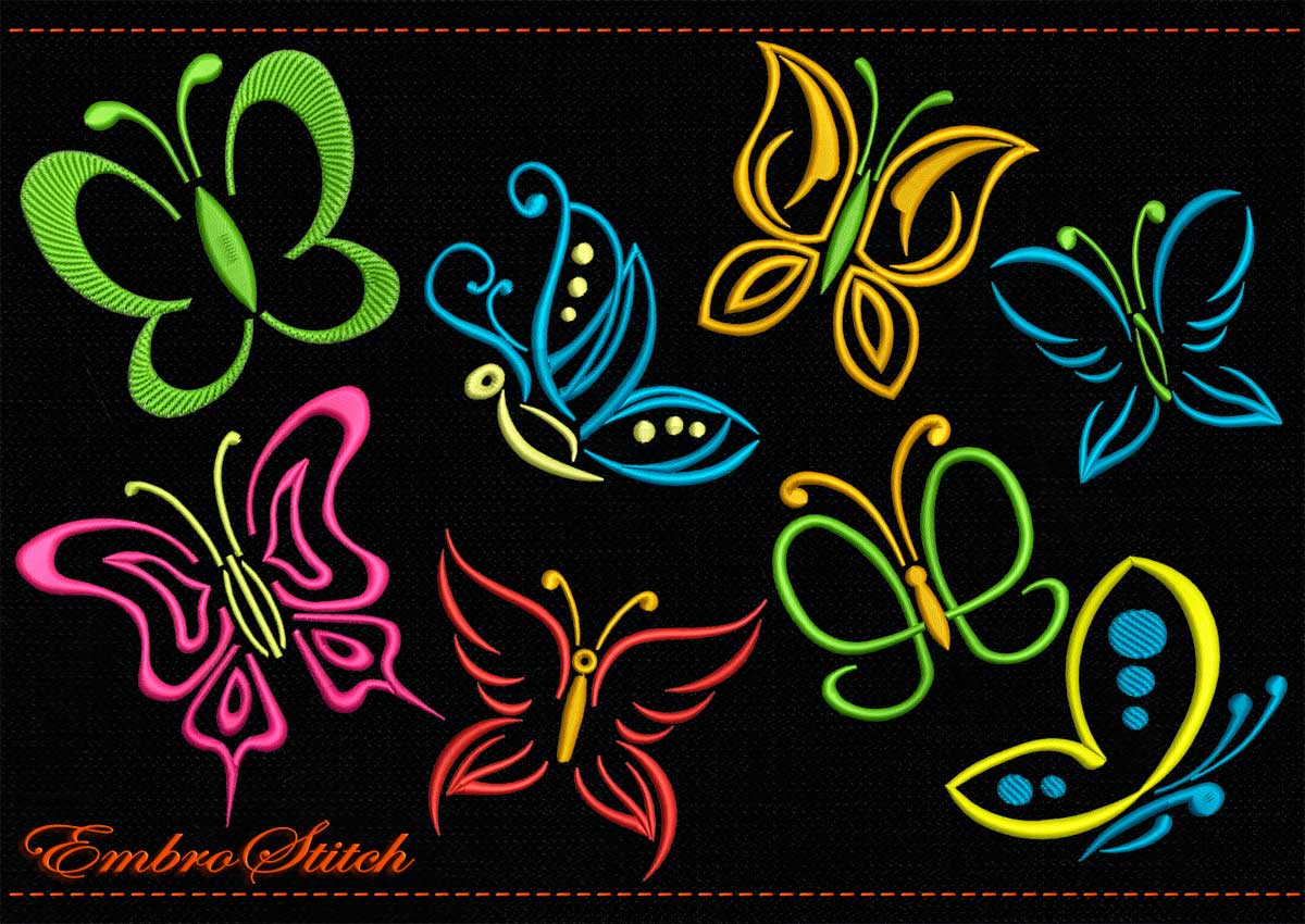 This Outline Butterflies design was digitized and embroidered by Embrostitch studio