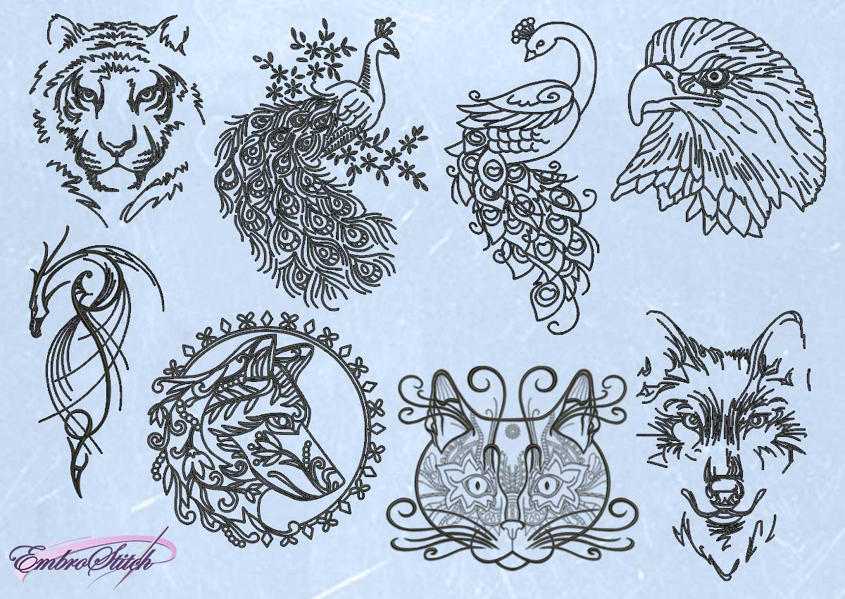 The pack of embroidery designs Outline animals