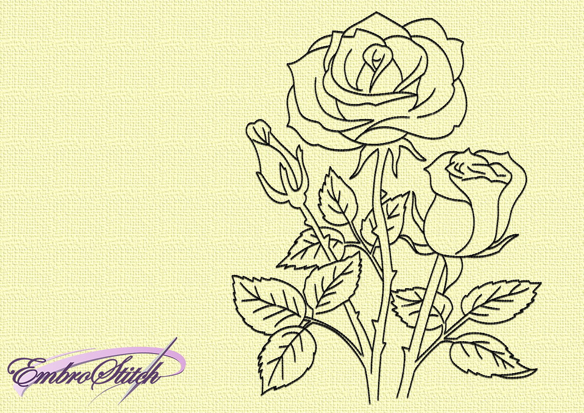 Outline Bouquet Of Roses Embroidery Design 3 Sizes